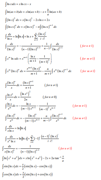 Integrals of Logarithmic Functions