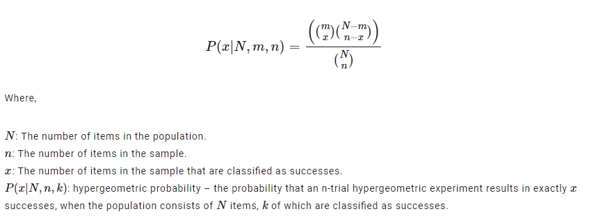 Hypergeometric Distribution Formula